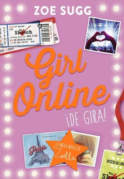 Portada de Girl online. ¡De gira!, con fotografías y sellos de viajes